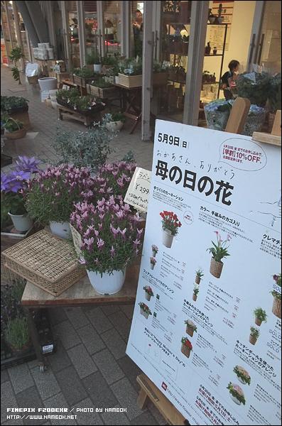 일 층에 있던 무인양품 꽃 가게 - 5월 9일 어머니의 날